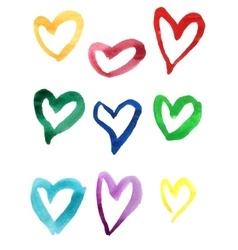Set of colorful hand drawn watercolor hearts vector image