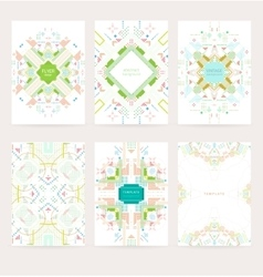Set of geometric vintage colorful flyers vector image vector image