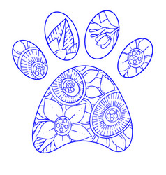 Silhouette biue dog paws in circle with doodle vector