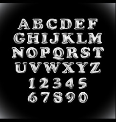 silver shiny english alphabet and numerals from vector image