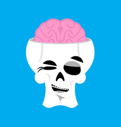 skull and brain winks emoji skeleton head happy vector image