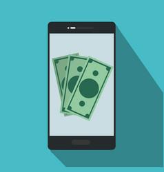 Smartphone with bills inside to online nfc payment vector