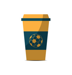 soccer coffee cup sport flat design icon vector image