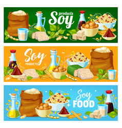 Soy products soya bean food tofu sauce and milk vector
