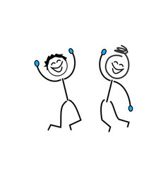 Stick figures stickman good and happy vector