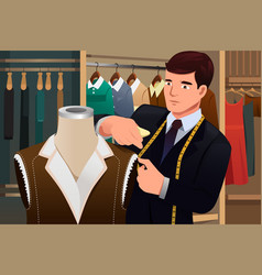 Tailor adjusting clothes on a mannequin vector