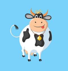The white cow with black spots on a blue vector