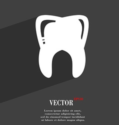 Tooth symbol Flat modern web design with long vector image