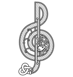 treble clef in celtic style vector image