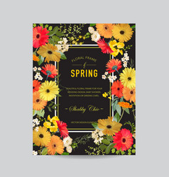 Vintage summer and spring floral frame invitation vector