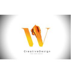 w orange letter design brush paint stroke gold vector image