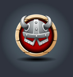 warriors helm wooden rounded badge icon for ui vector image