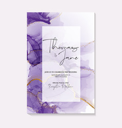 Watercolor purple ink splash with gold foil vector