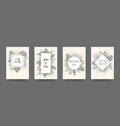 wedding flat plant posters greeting vector image
