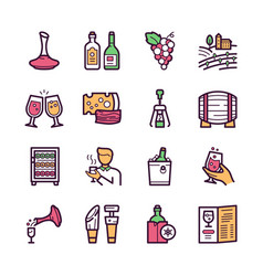 wine making color linear icons set vector image