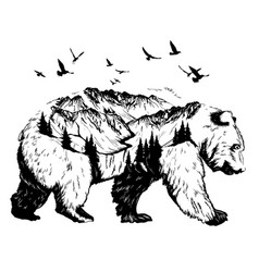 double exposure bear and mountain landscape vector image vector image