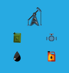 flat icon oil set of jerrycan flange droplet and vector image