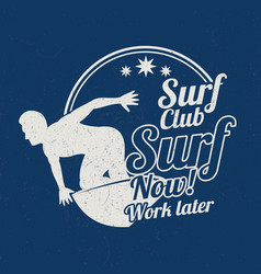 grunge vintage summer surfing sports vector image