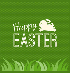 happy easter and bunny jump over grass vector image