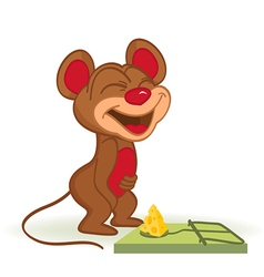 Mouse and cheese in mousetrap vector image vector image