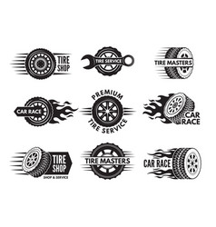 race logos with pictures of different cars wheels vector image