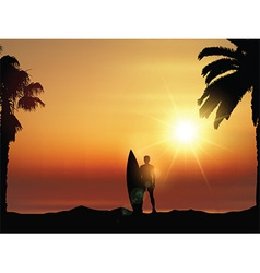 Surfer in tropical landscape vector image vector image