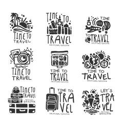 time to travel set for label design black vector image