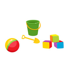 Toys flat ball cubics bucket sand shovel vector