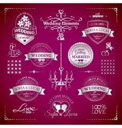 Big set of classic wedding vintage badges vector image vector image