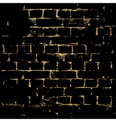 Brick wall gold texture pattern black vector image vector image