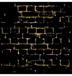 Brick wall gold texture pattern black vector image
