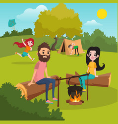 family with kids camping in park girl playing vector image vector image