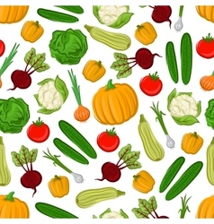 Fresh farm vegetables seamless pattern background vector image vector image