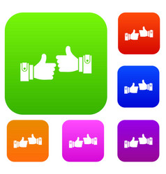 male hands showing ok sign set collection vector image vector image