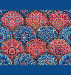 mandala pattern blue red with shadows vector image vector image