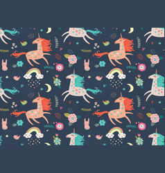 unicorn pattern vector image vector image
