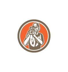 Cameraman holding movie video camera circle vector