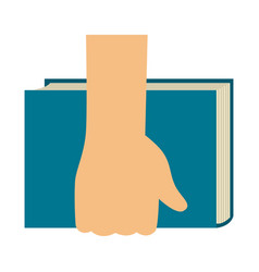 hand holding a book icon vector image