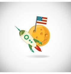 Moon and rocket vector image