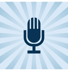 Old fashioned microphone on background beams vector image