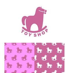 Toy Shop logo rocking horse Set emblem and pattern vector image vector image