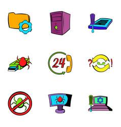 virus danger icons set cartoon style vector image