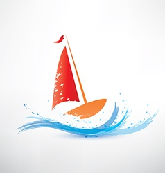 yacht and ocean wave symbol vector image