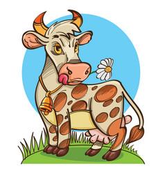 cute cow on meadow vector image vector image