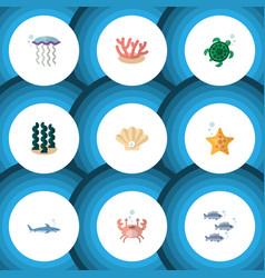 flat icon sea set of cancer medusa tuna and vector image vector image