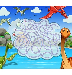 Game template with dinosaurs in the lake vector image vector image