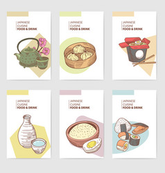 japanese food hand drawn brochures template vector image vector image