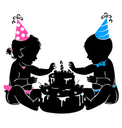silhouette baby twins with birthday cake with vector image