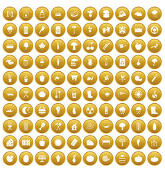 100 vegetables icons set gold vector