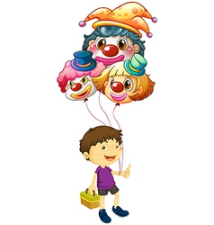 A boy carrying three clown balloons vector image
